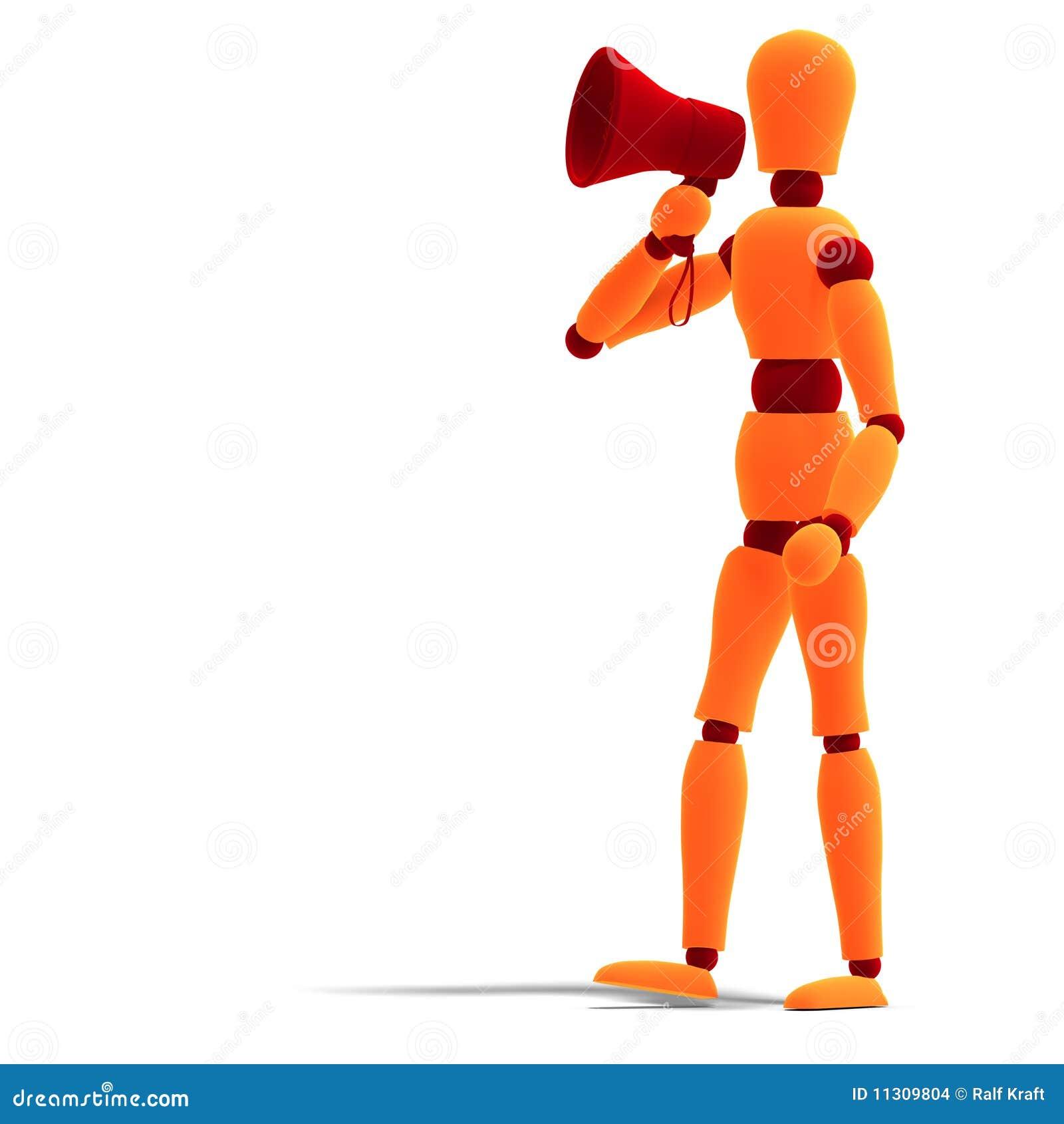Orange/rotes Männchen, das etwas verkündet