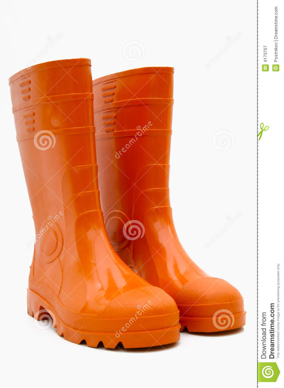 Orange Rubber Boots Isolated Stock Image Image 4173707