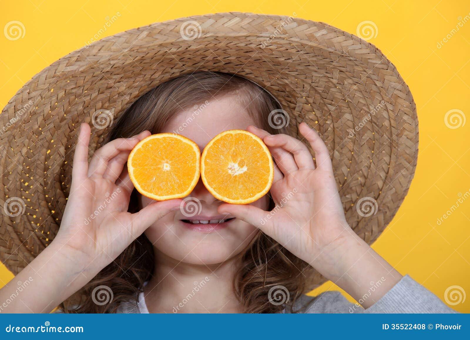 Orange Scheiben für Augen