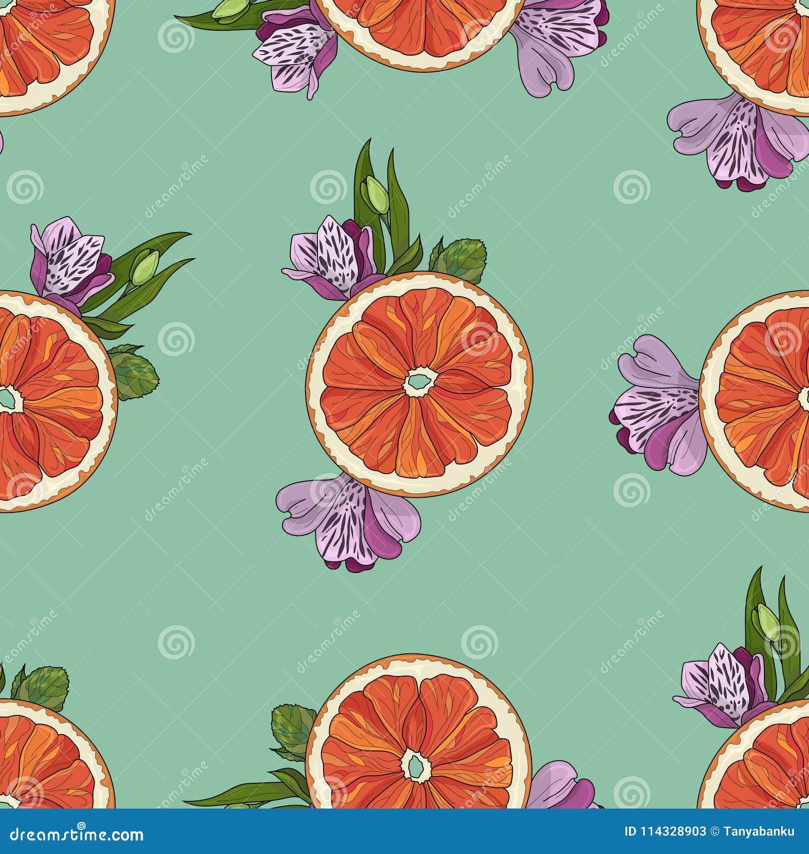 Orange Scheiben mit nahtlosem Muster der Blumen auf Knickentenhintergrund