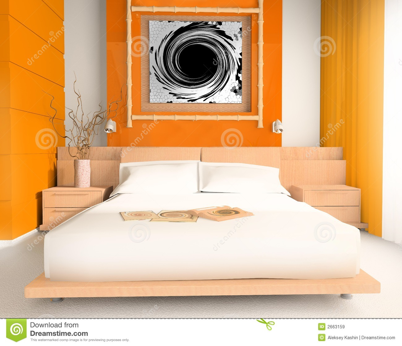 orange schlafzimmer stockbild bild von gl ck schlafzimmer 2663159. Black Bedroom Furniture Sets. Home Design Ideas
