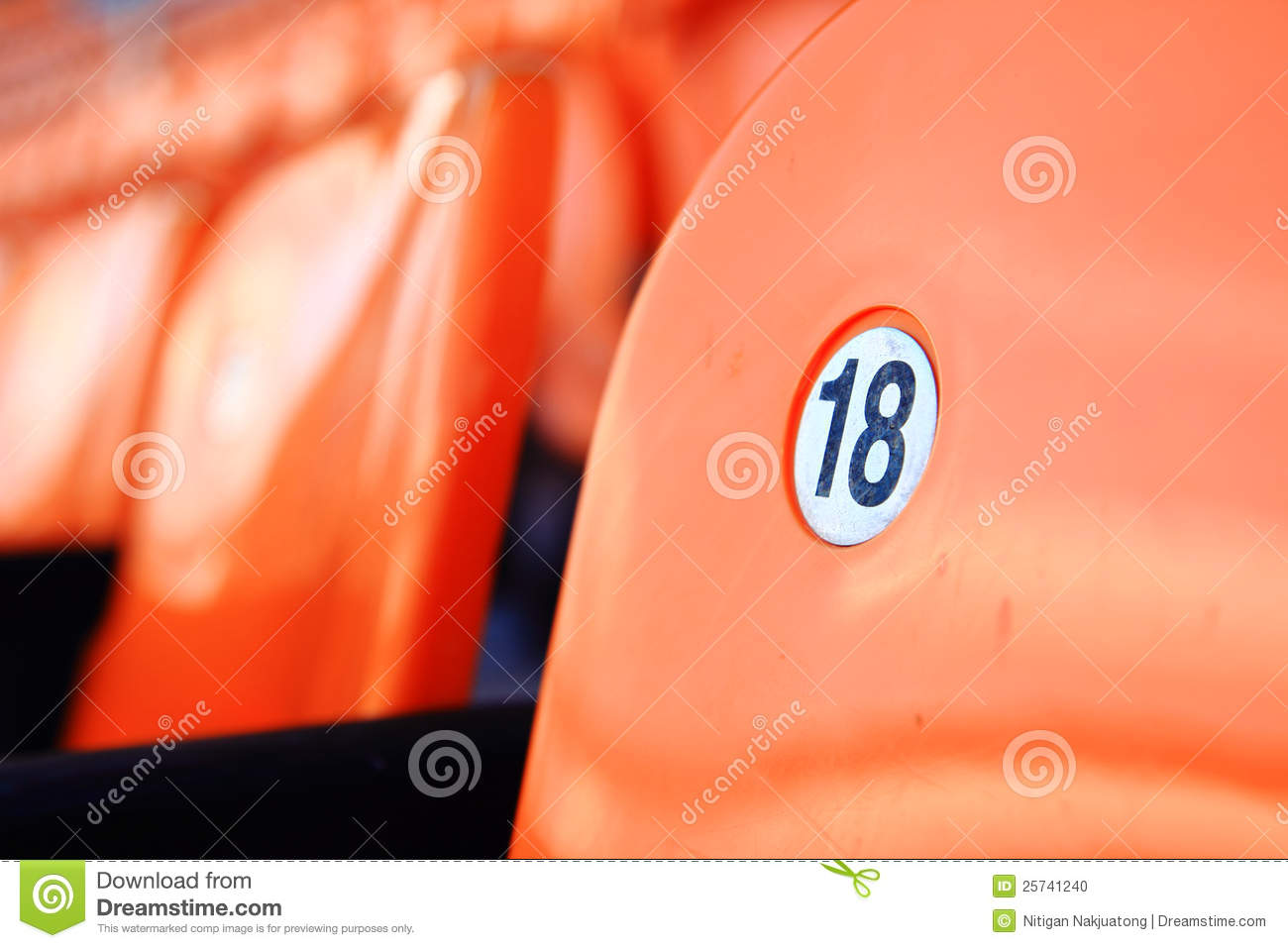Orange Seat Number 18 Stock Photo Image Of Hockey