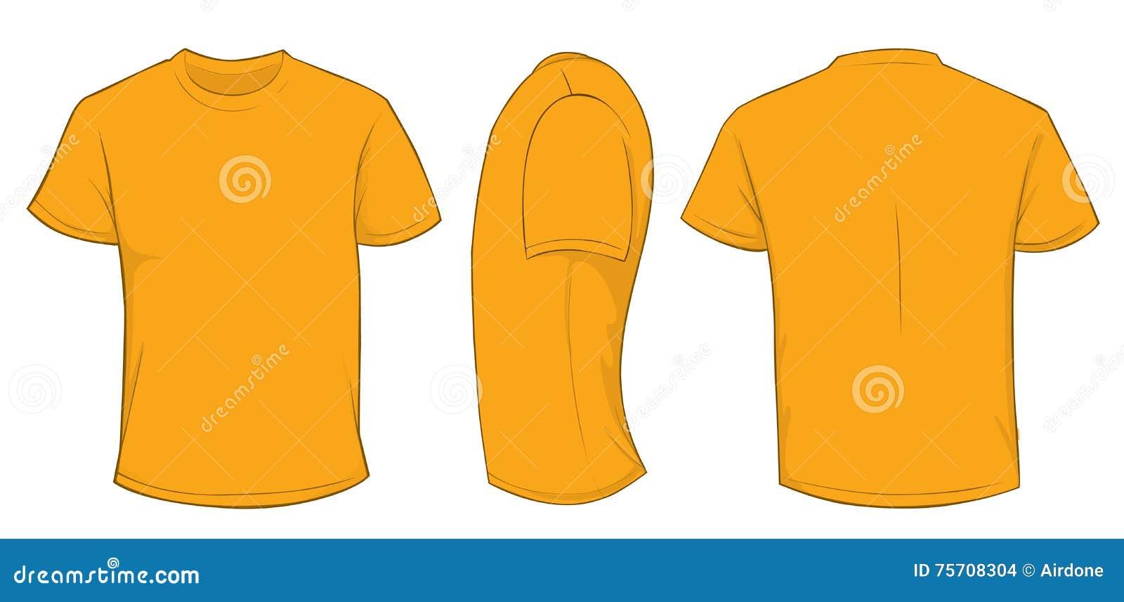 640ceba70 Vector illustration of blank orange men t-shirt template, front, side and back  design isolated on white