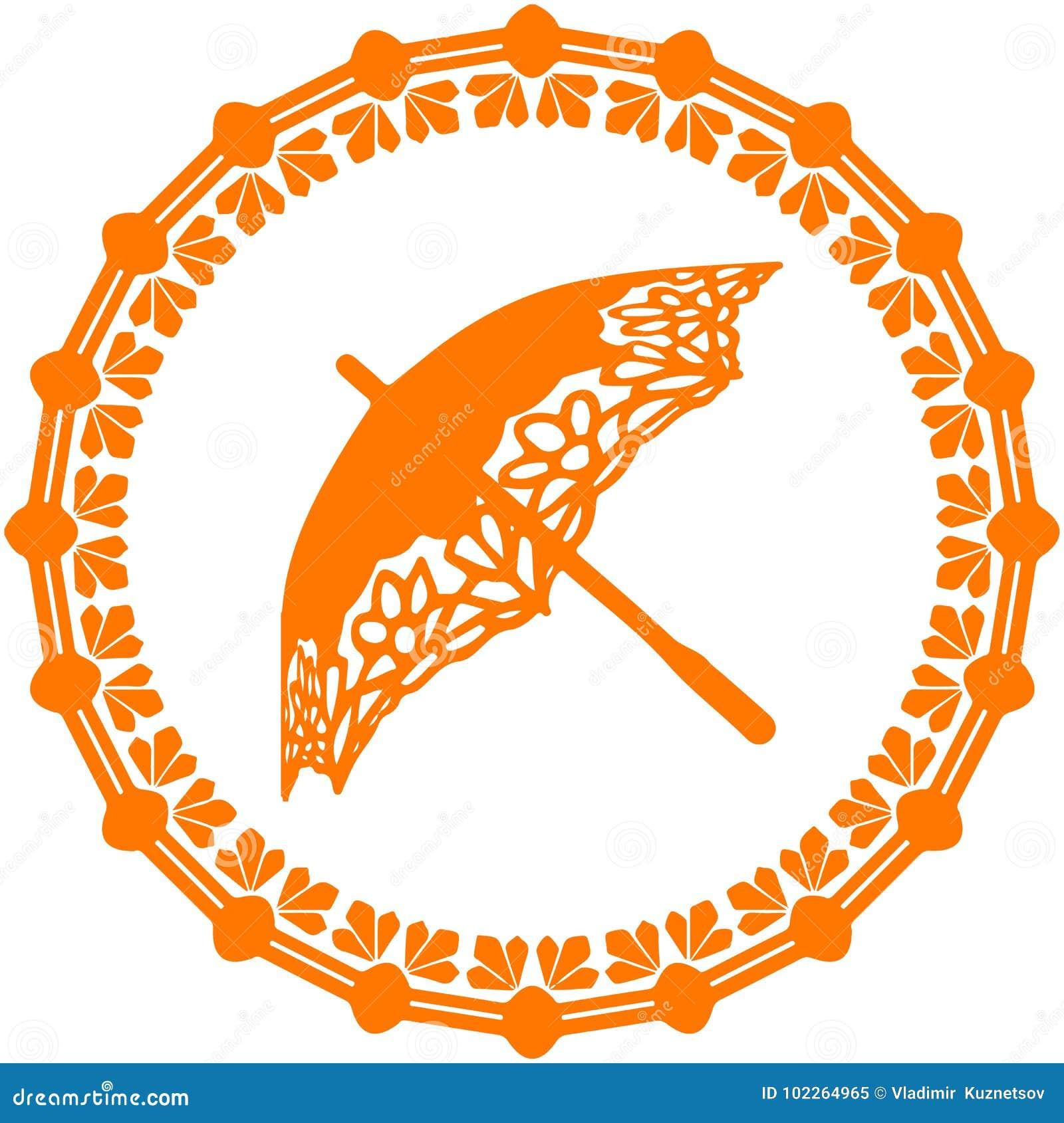 Orange Silhouette umbrella ornate, logo in a circle on a white b