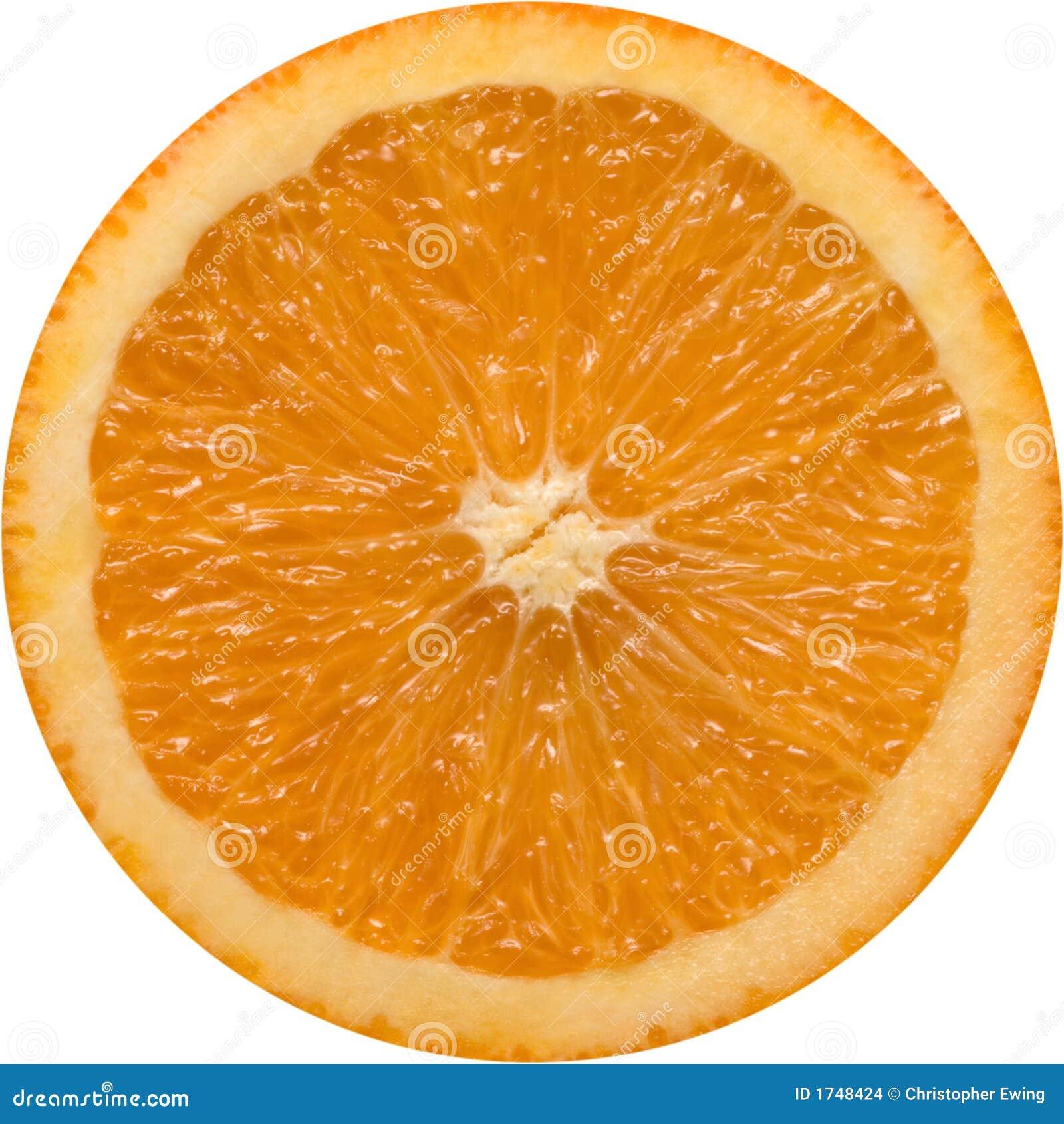 perfectly round orange slice isolated on a white background.