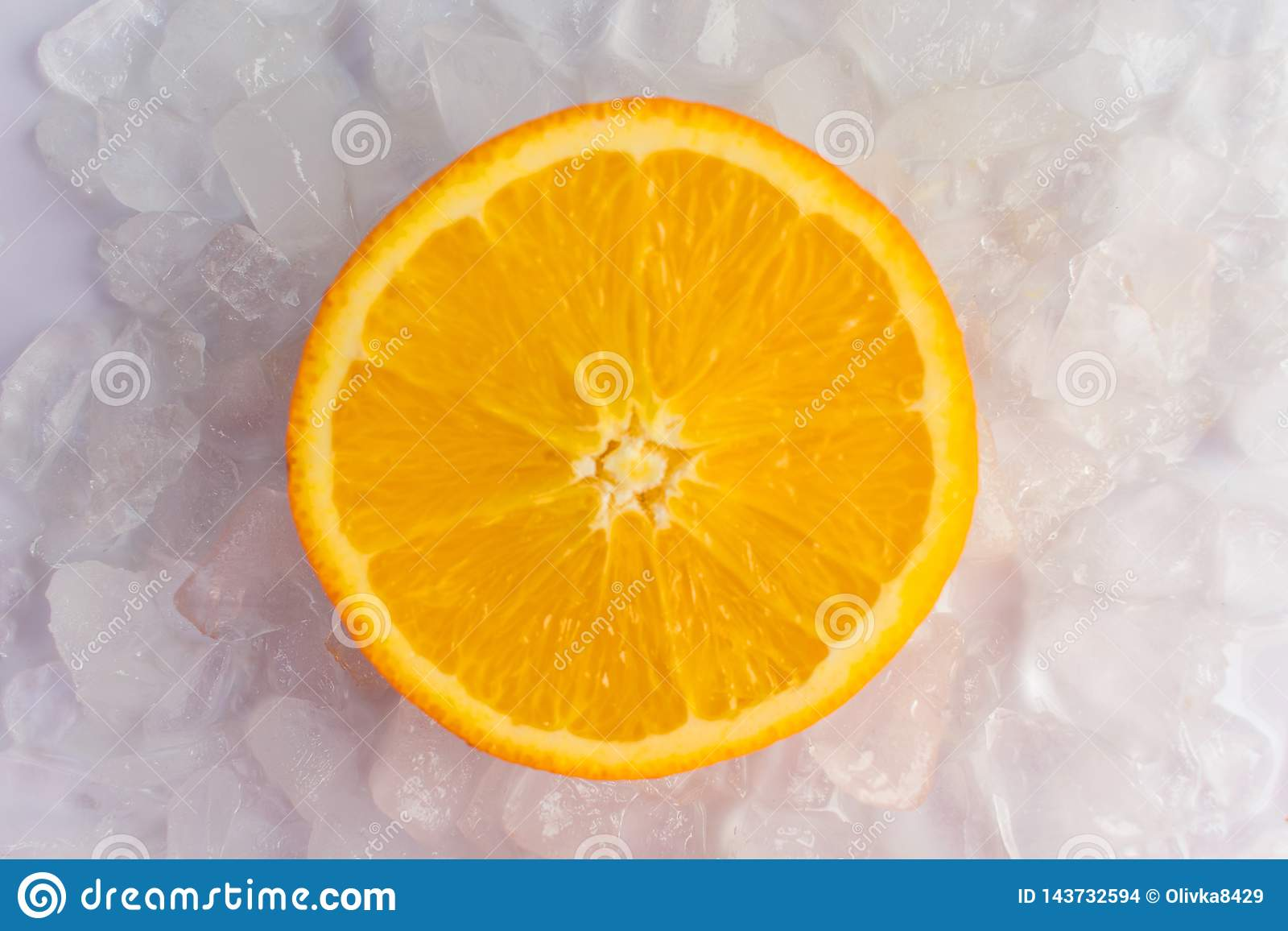 Orange slices are in the ice