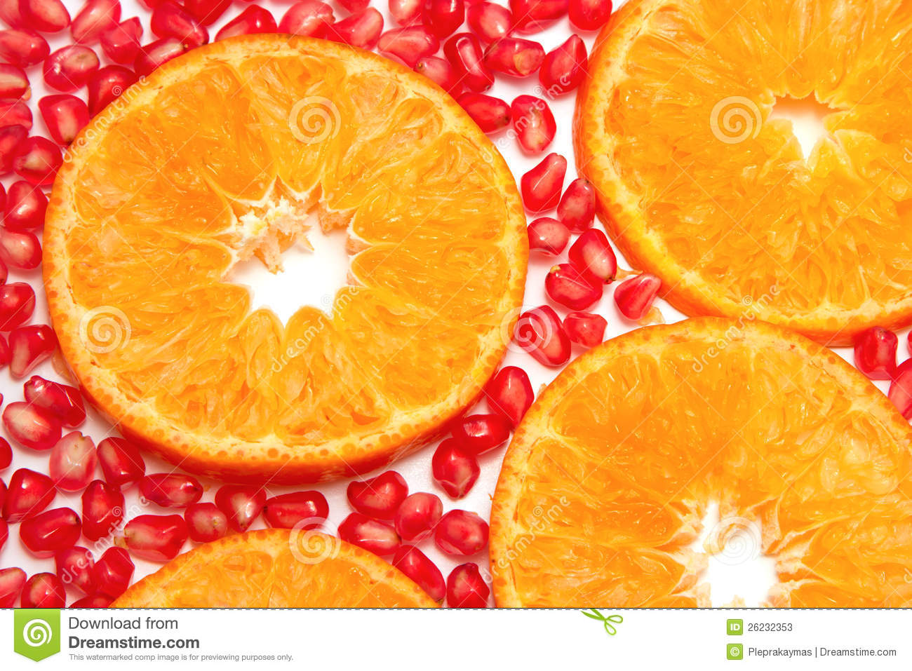 Orange Slices Pattern And Pomegranate Seed Stock Photos - Image ...