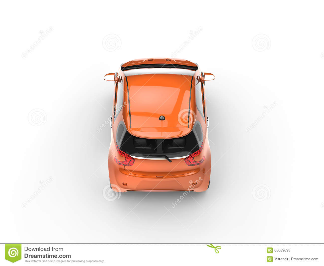 Car Back Top View >> Orange Small Car Top Back View Stock Image Image Of Auto Tire