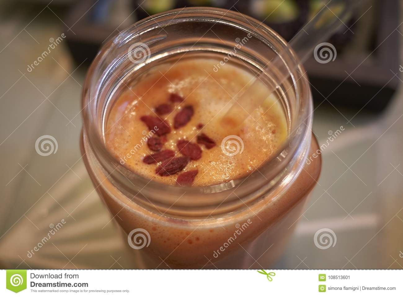 Orange smoothie with goji berries