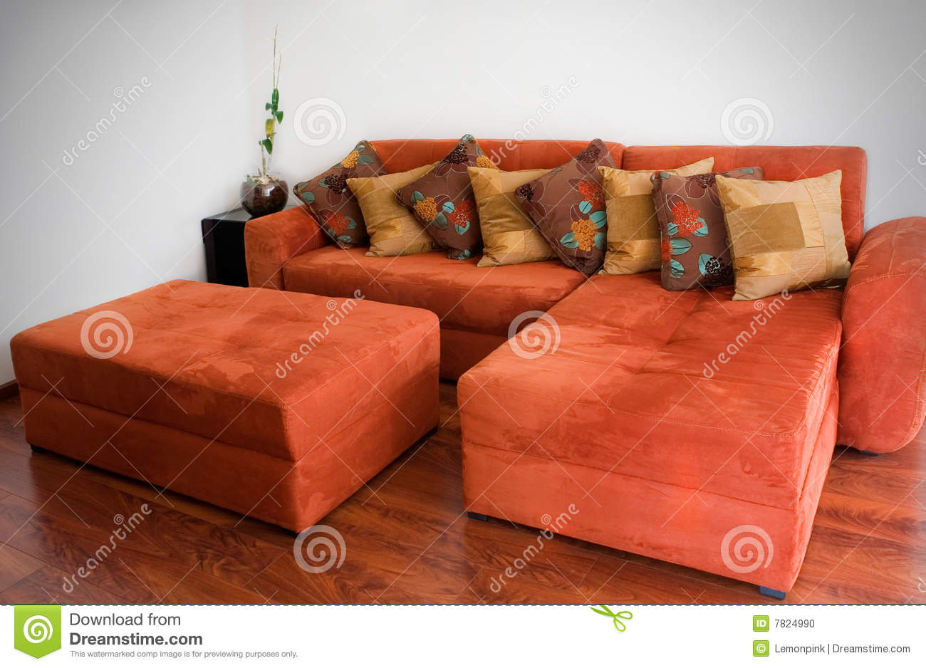 Orange sofa stock photo image of interior contemporary for Sofa landhausstil