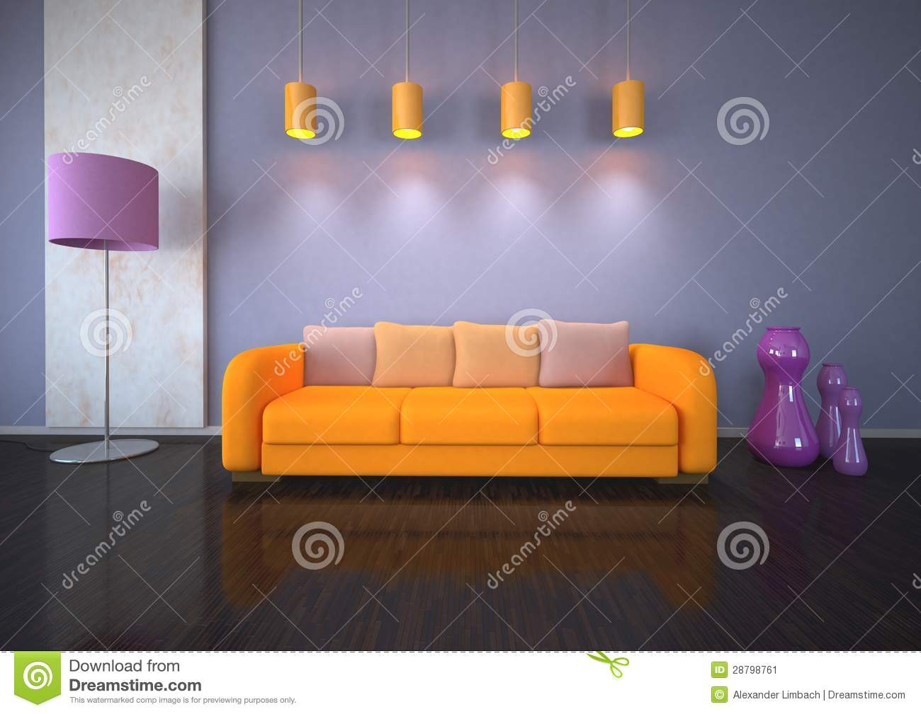 orange sofa im raum stockbild bild 28798761. Black Bedroom Furniture Sets. Home Design Ideas