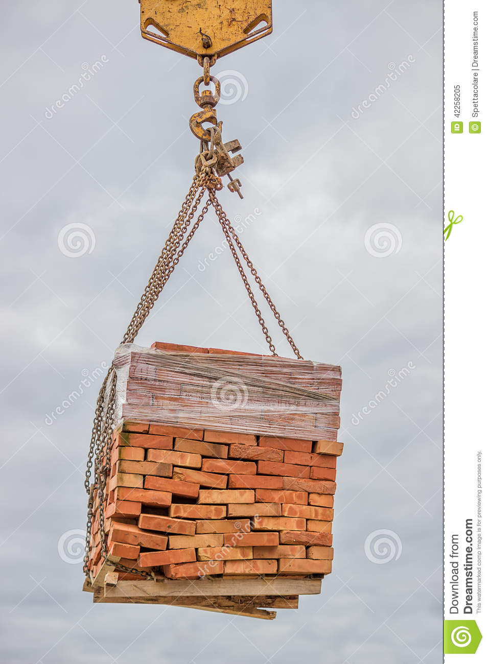 Orange Solid Clay Brick On Pallet Lifting Stock Image