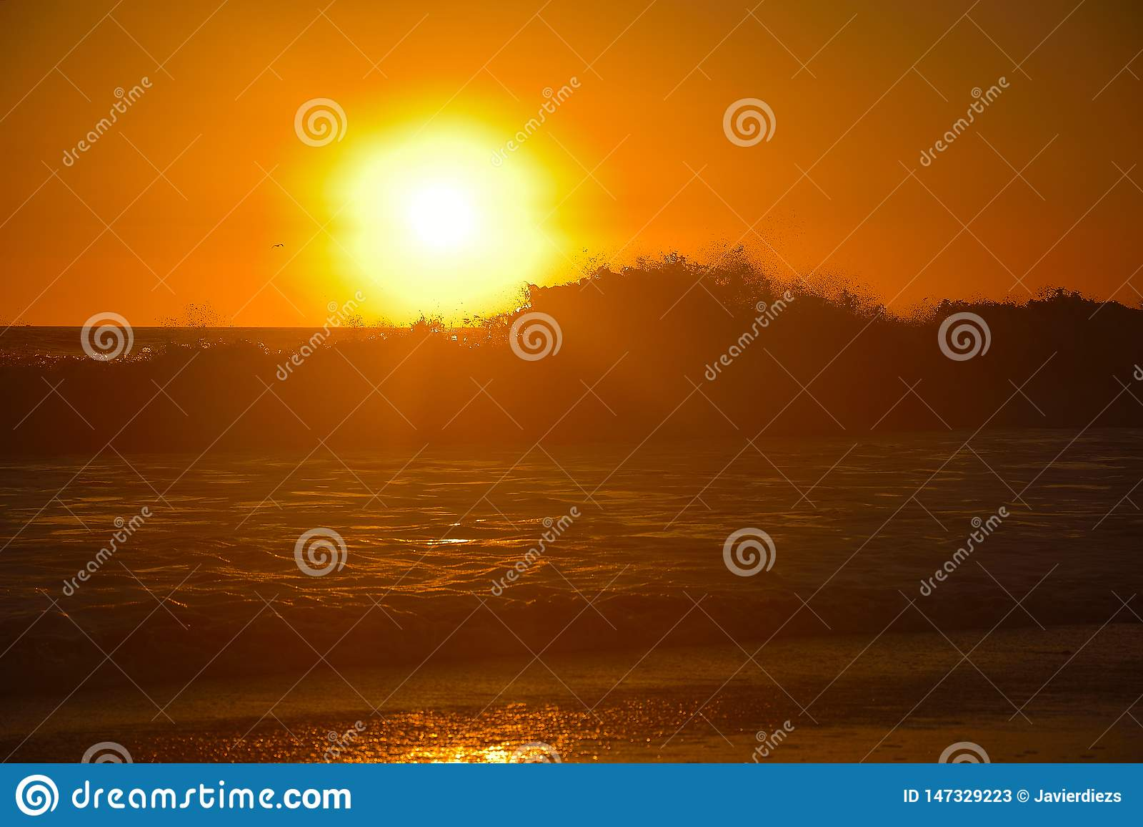 Orange Sonnenuntergang ?ber den Wellen an Santa Monica Strand