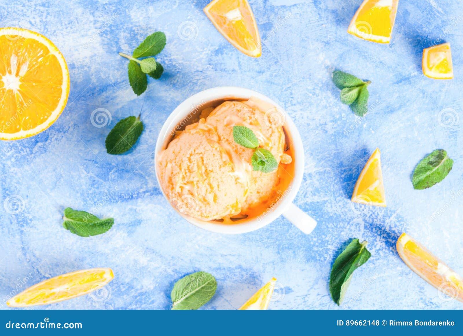 Orange sorbet med mintkaramellen
