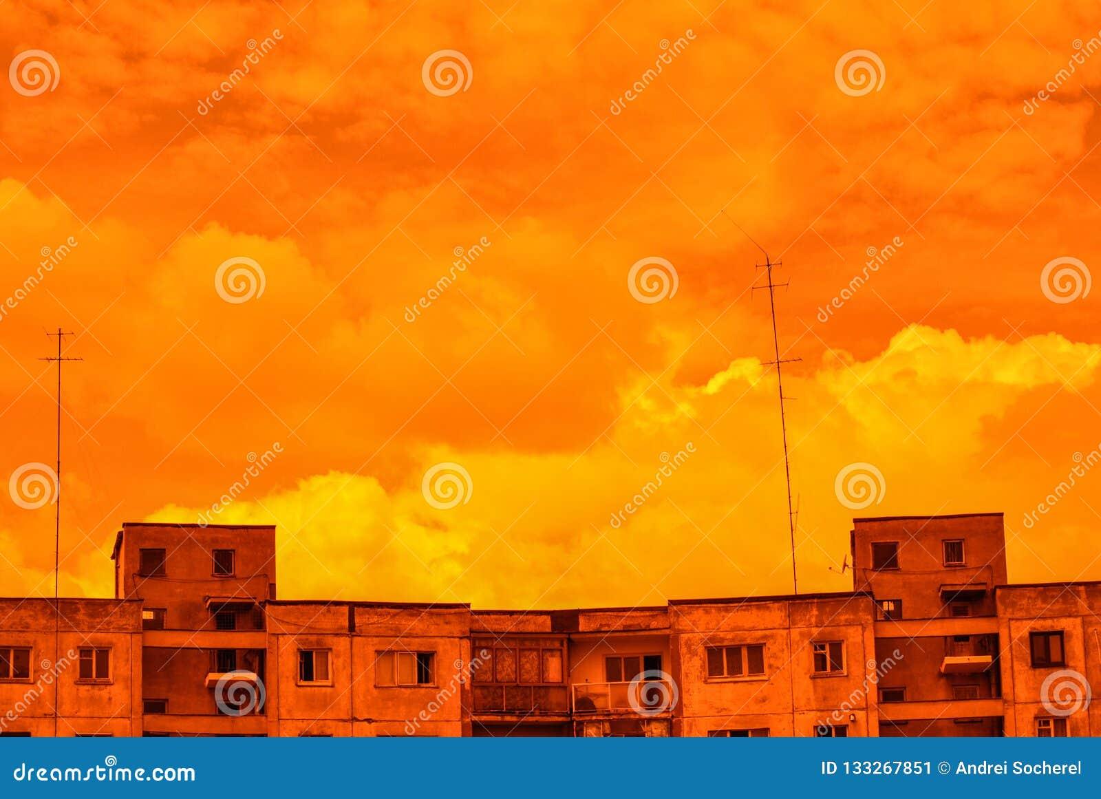 Orange Soviet Antennae Skyline