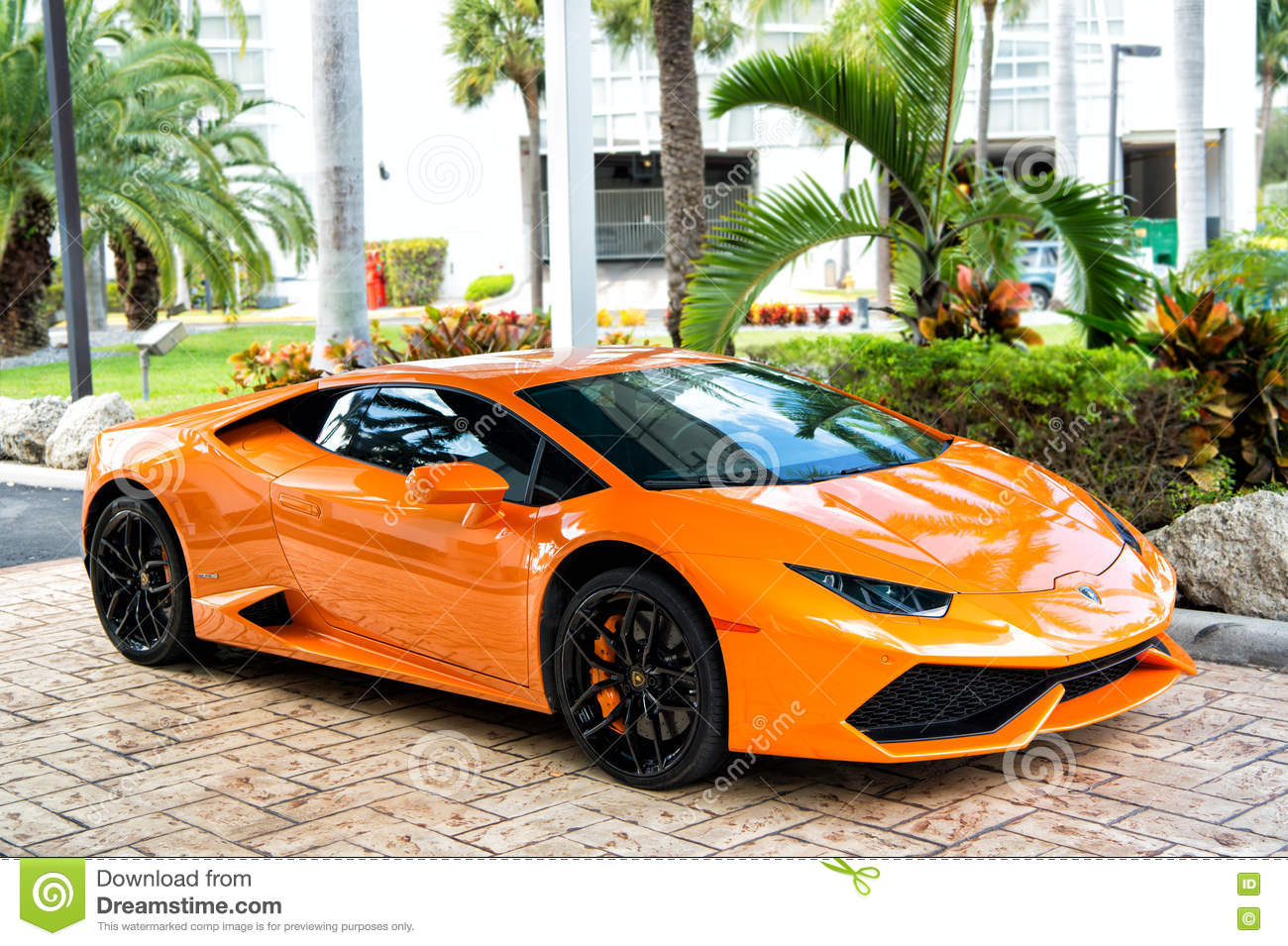 Orange Sport Car Lamborghini Aventador Editorial Photo Image Of