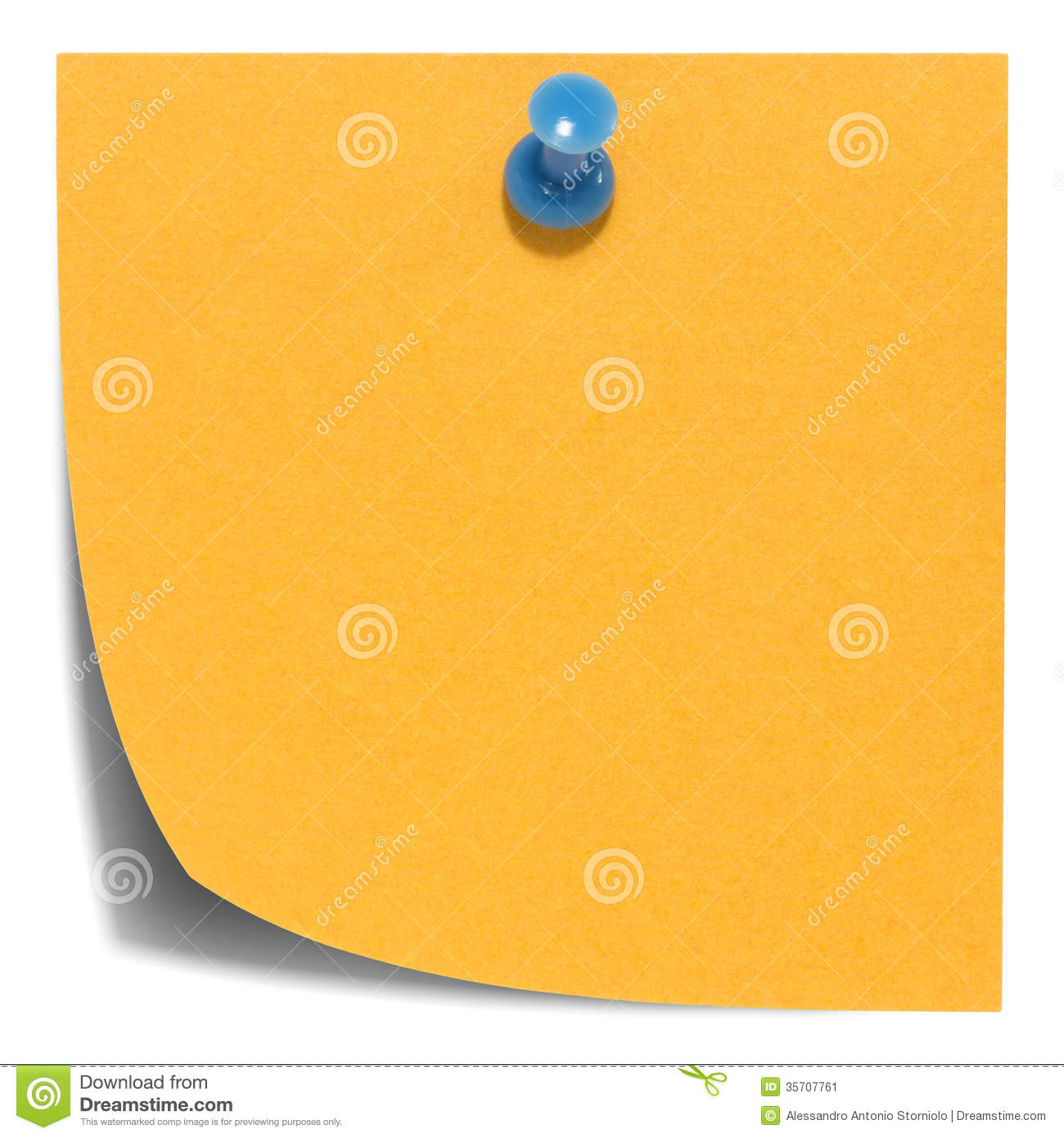 Orange square sticky note, with a blue pin, isolated