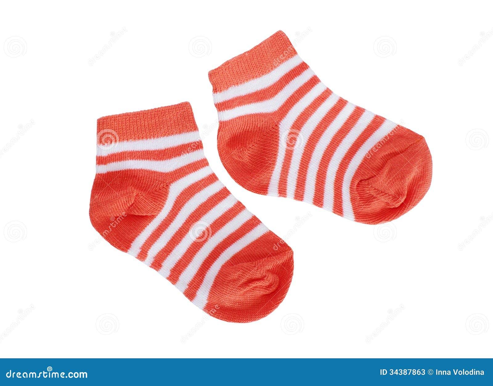 Orange Striped Baby Socks On White Background Stock Image ...