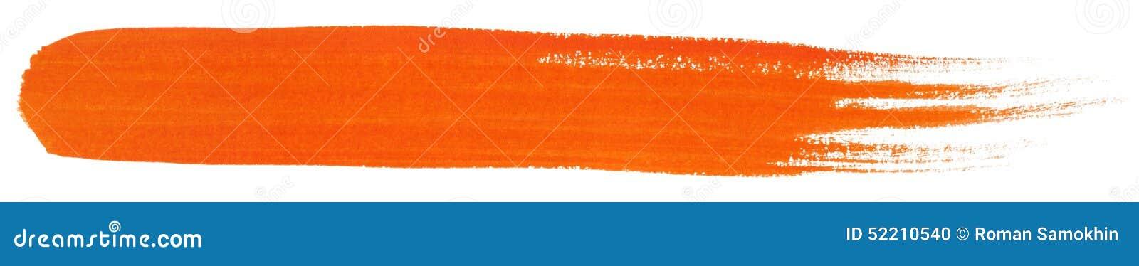 Orange stroke of gouache paint brush