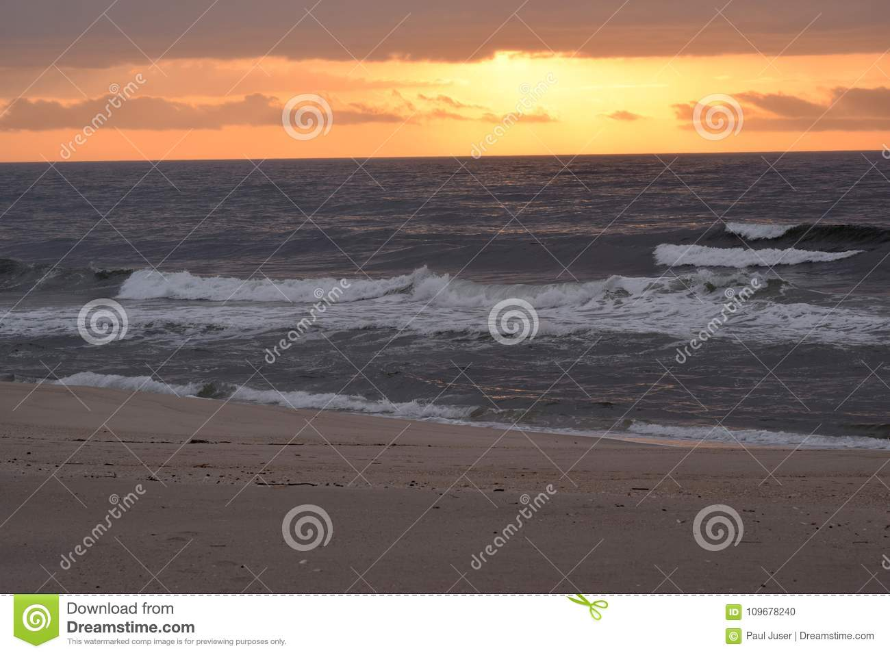 Waves Crashing On A Beach At Dawn Stock Photo - Image of sand, calm