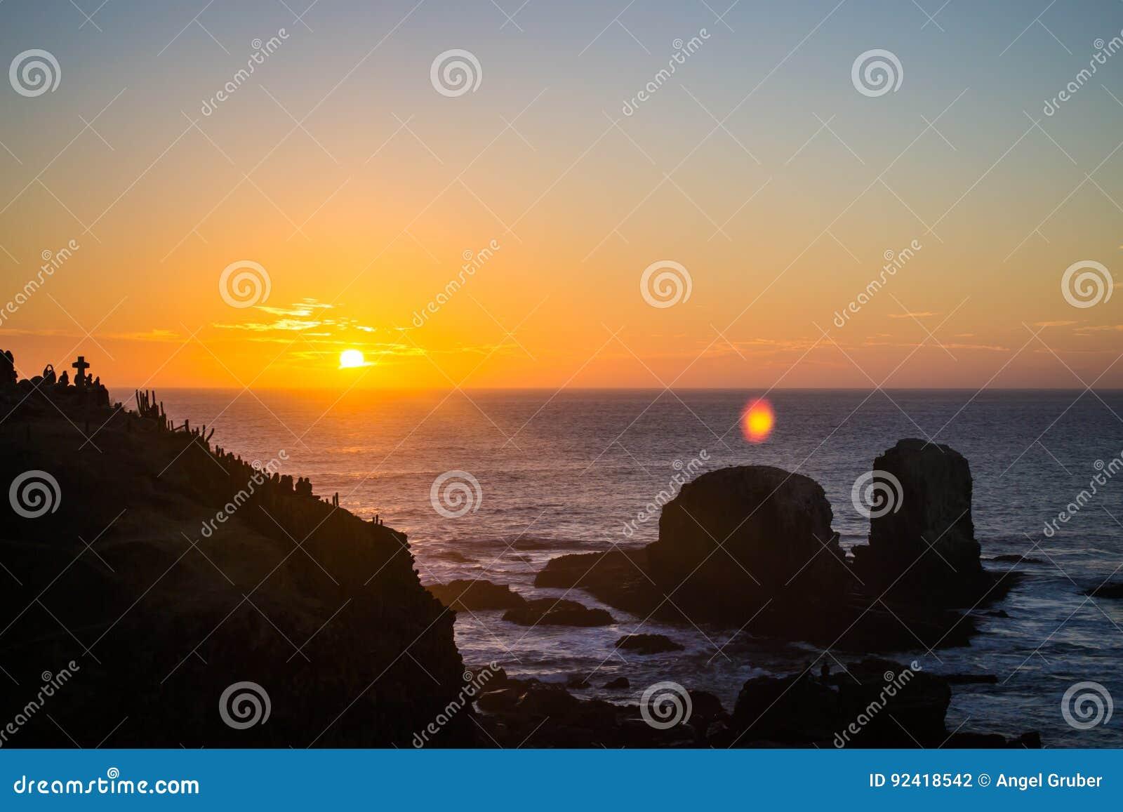 Orange sunset at the beach