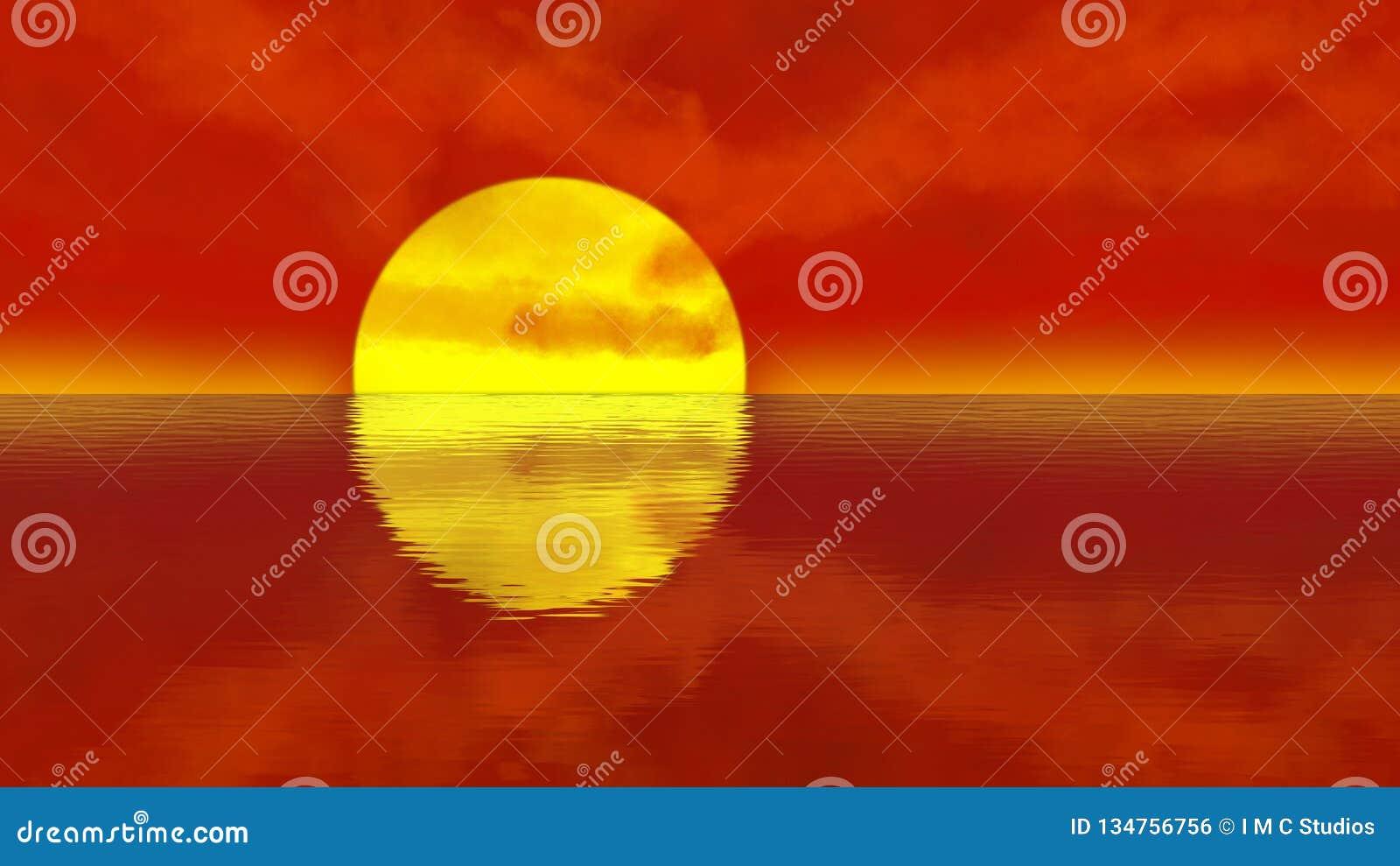 Orange sunset over calm water ripples