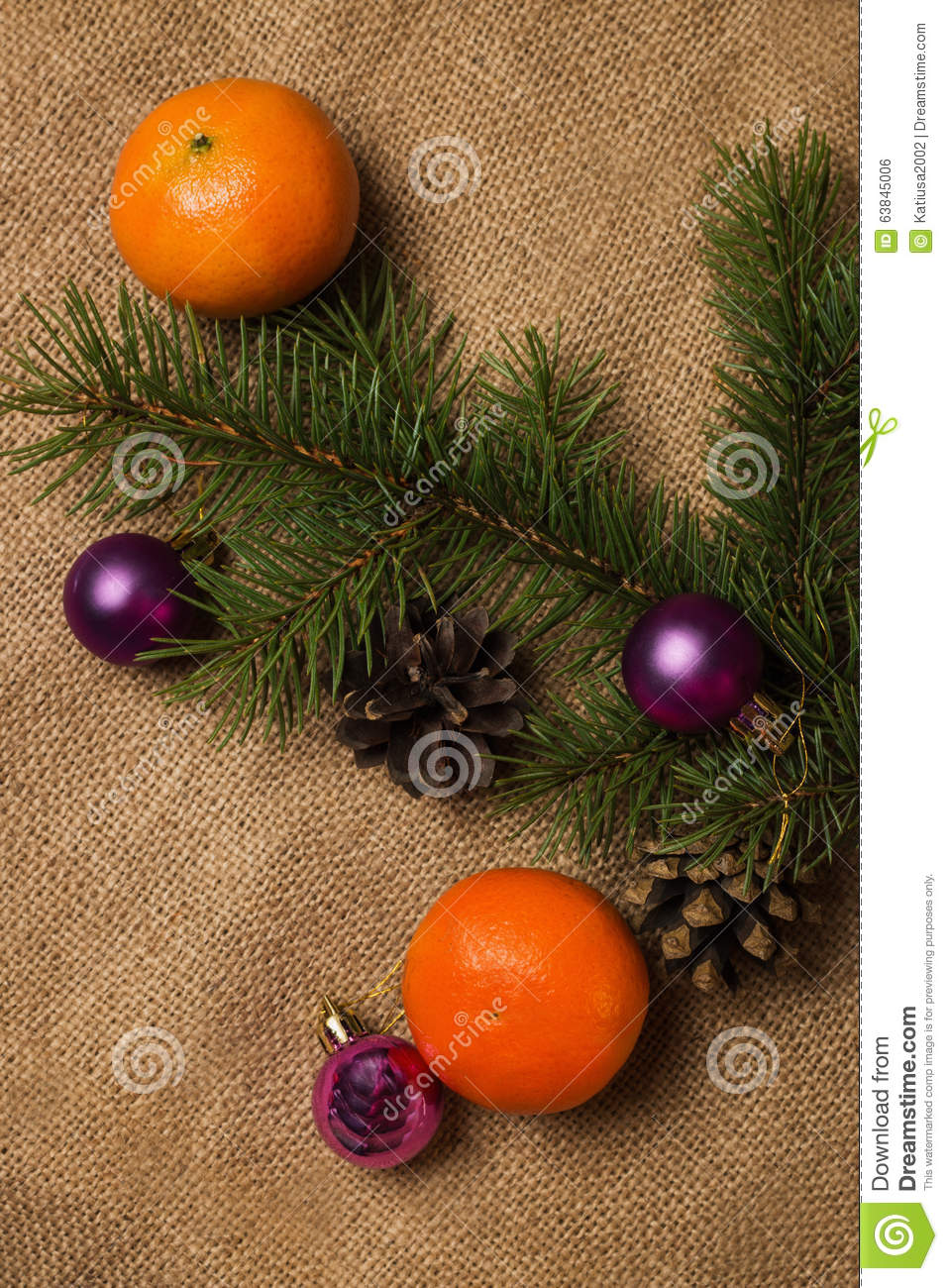 orange tangerines fir cones christmas decorations stock