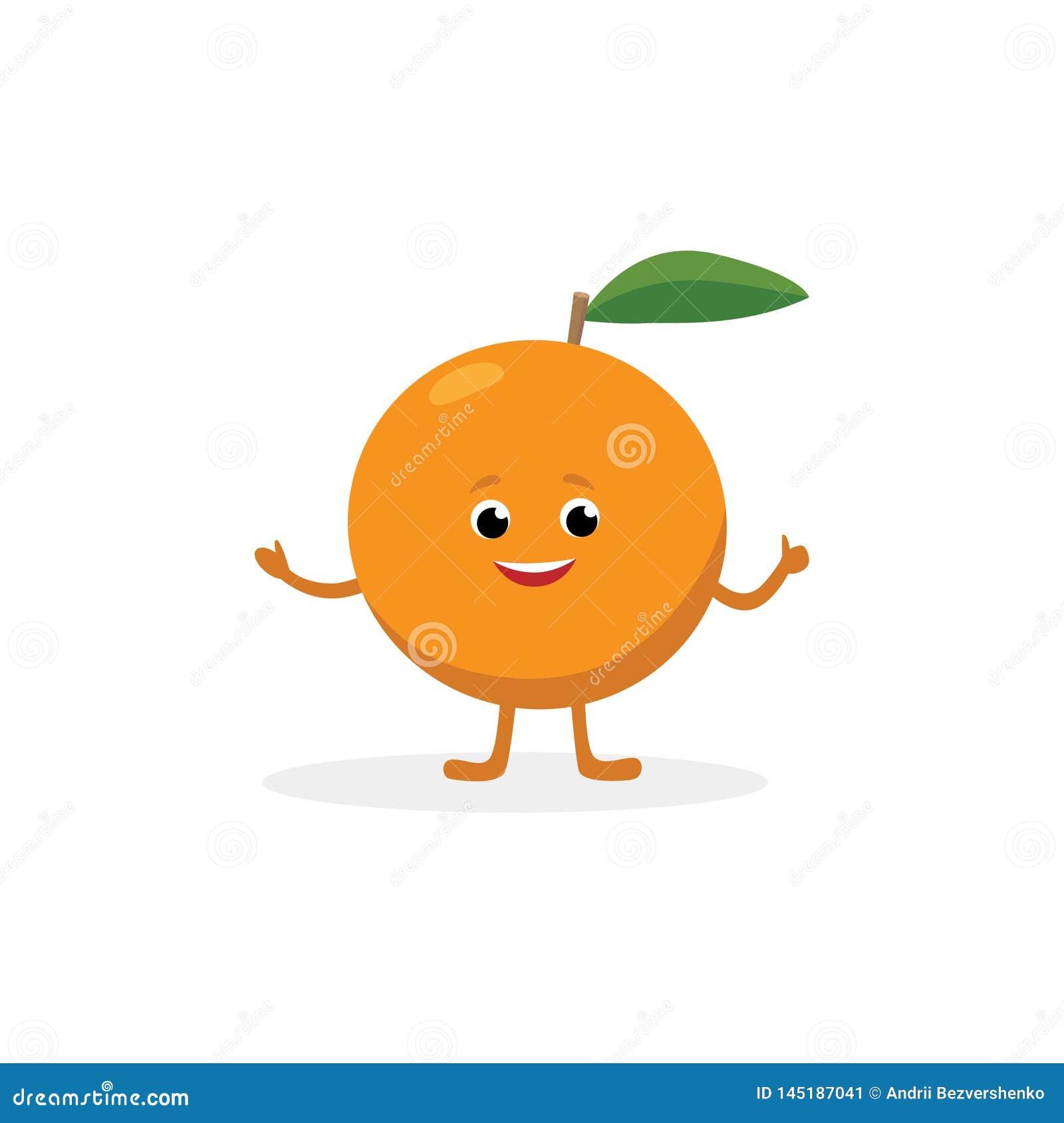 Orange tecknad filmtecken som isoleras på vit bakgrund Rolig maskot för sund mat av den orange fruktvektorillustrationen in