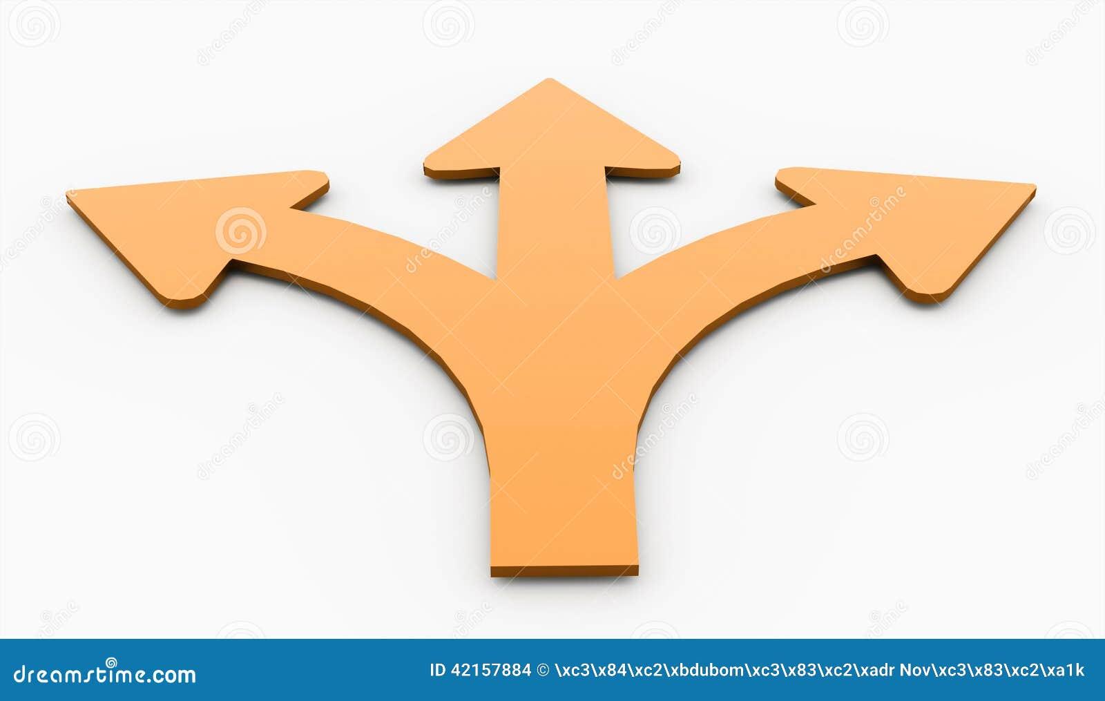 Orange three arrows isolated