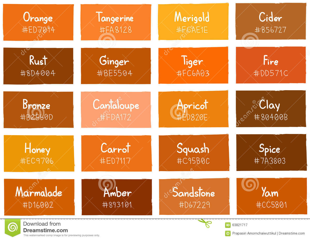 Shades Of Orange color name with color x--x 2017