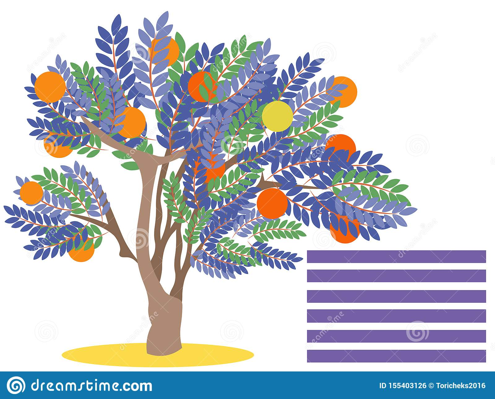 Orange tree with fruit. Blank for banner. In minimalist style. Flat isometric raster
