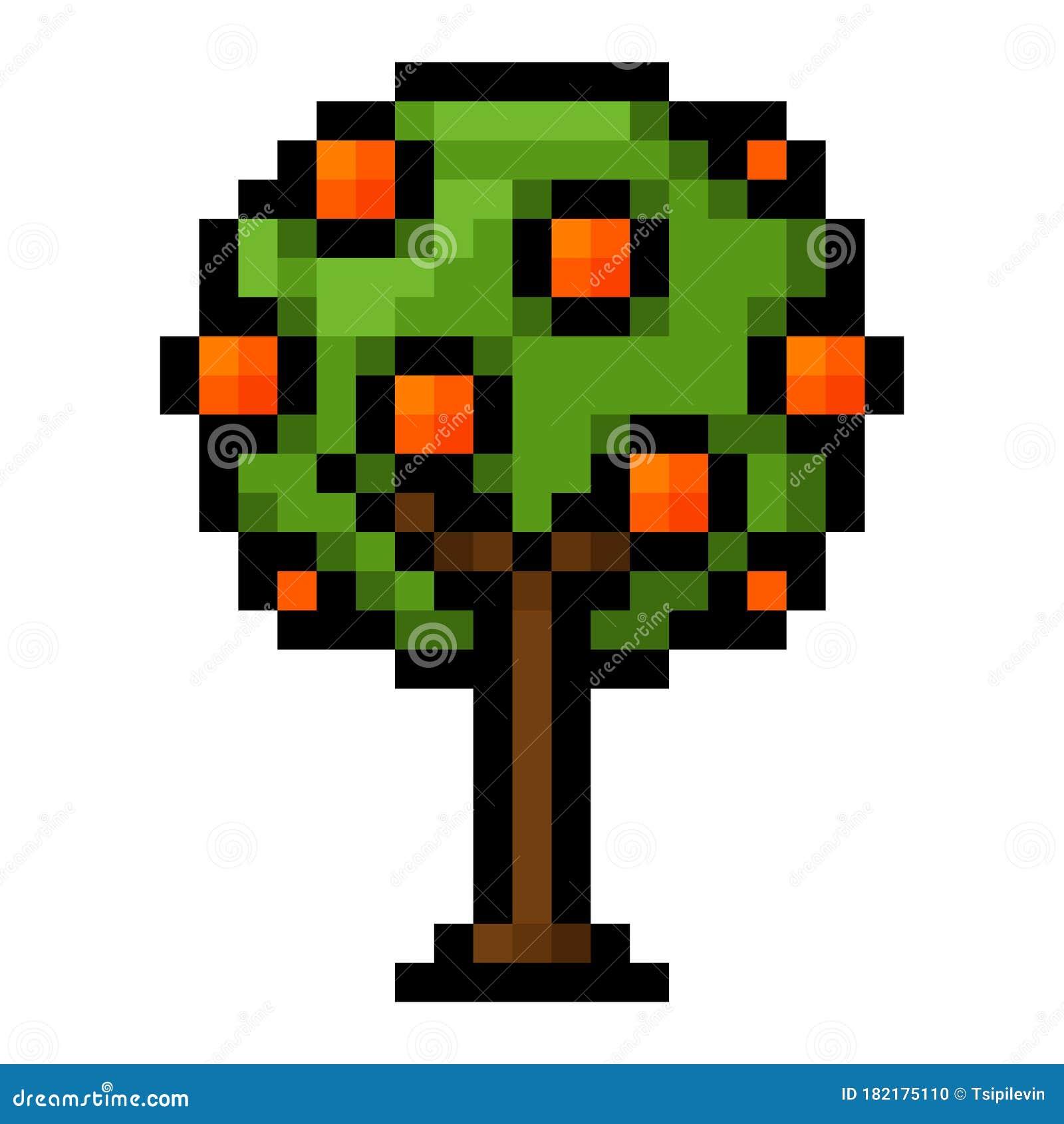 Orange Tree With Fruits Pixel Art Stock Illustration Illustration Of Design Green 182175110