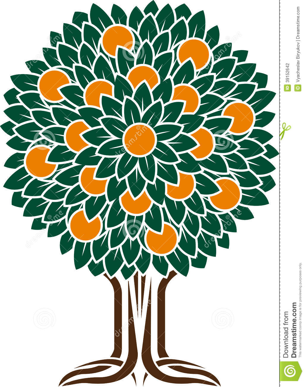 Orange tree  stencil  vector Orange Tree Vector