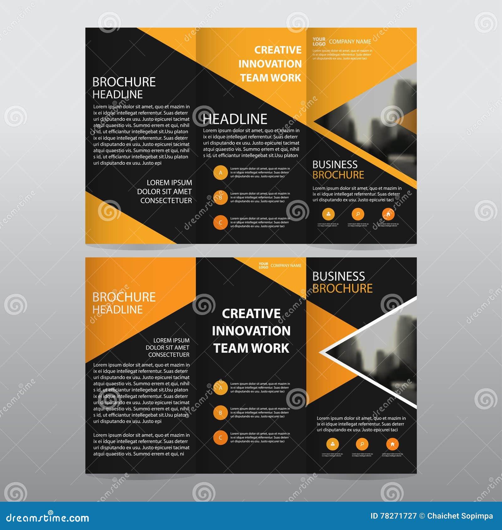 Abstract Orange Trifold Brochure Design Business Template: Orange Triangle Business Trifold Leaflet Brochure Flyer