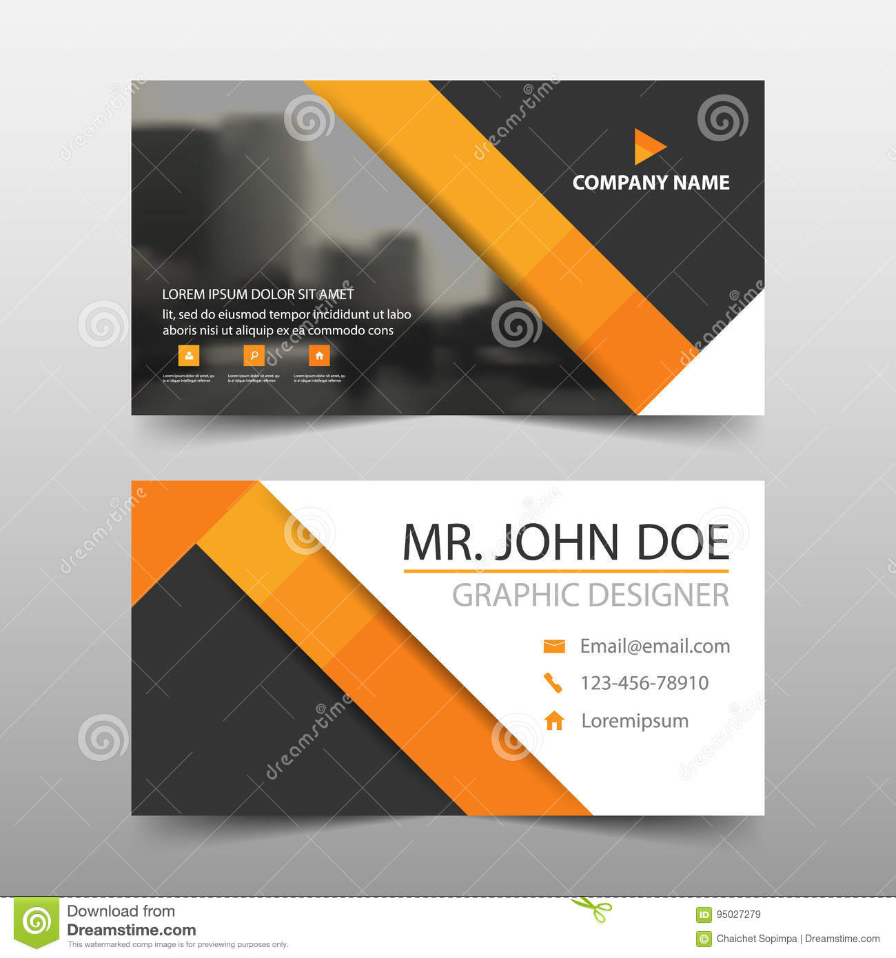 Orange triangle corporate business card name card template download orange triangle corporate business card name card template horizontal simple clean layout design cheaphphosting Gallery