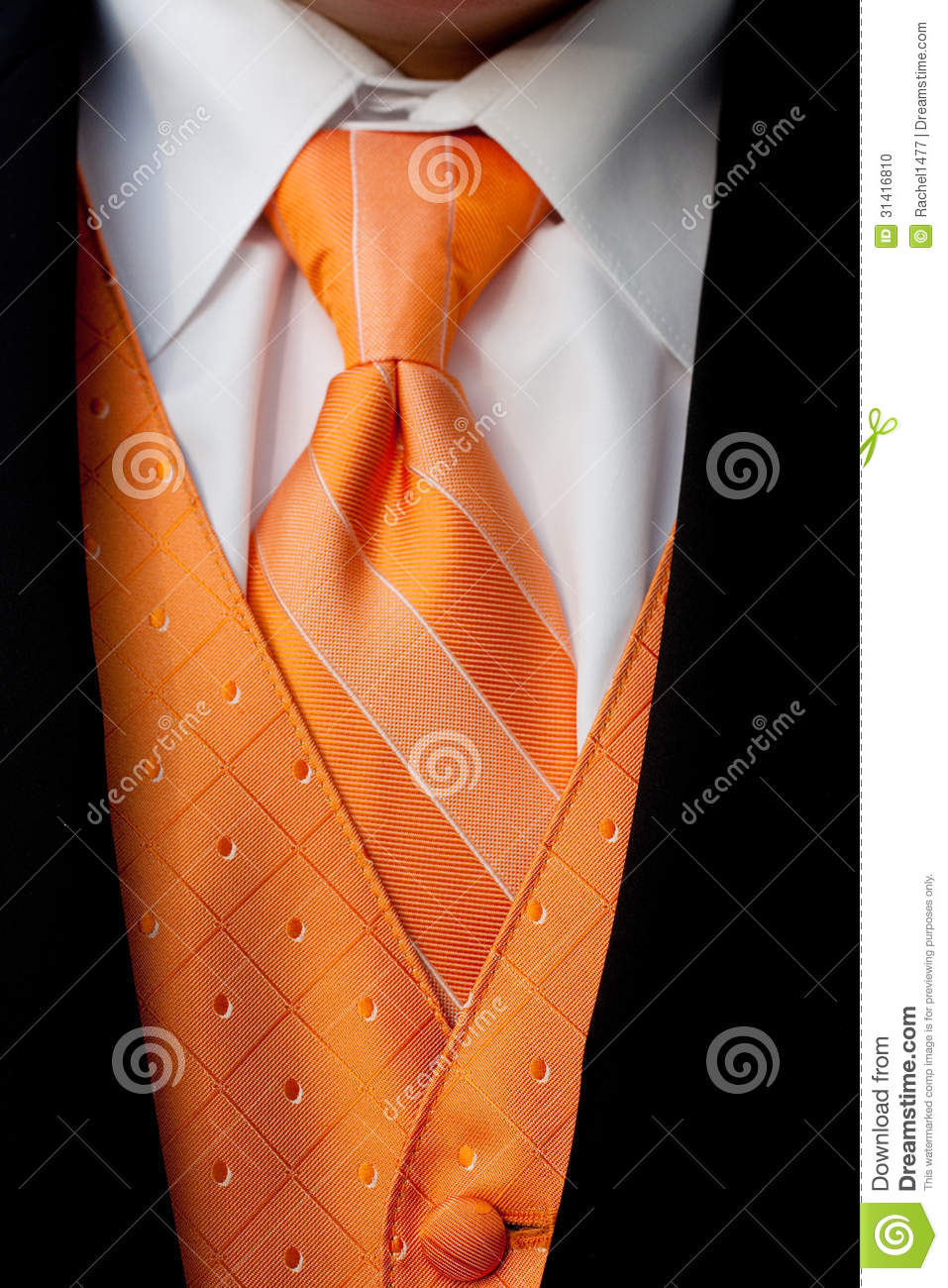 orange tuxedo neck tie and vest stock photo image 31416810
