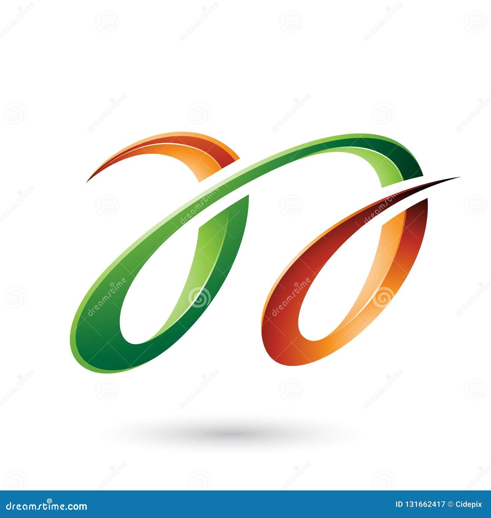 Orange und grüne glatte Doppelbuchstaben A lokalisiert auf einem weißen Hintergrund