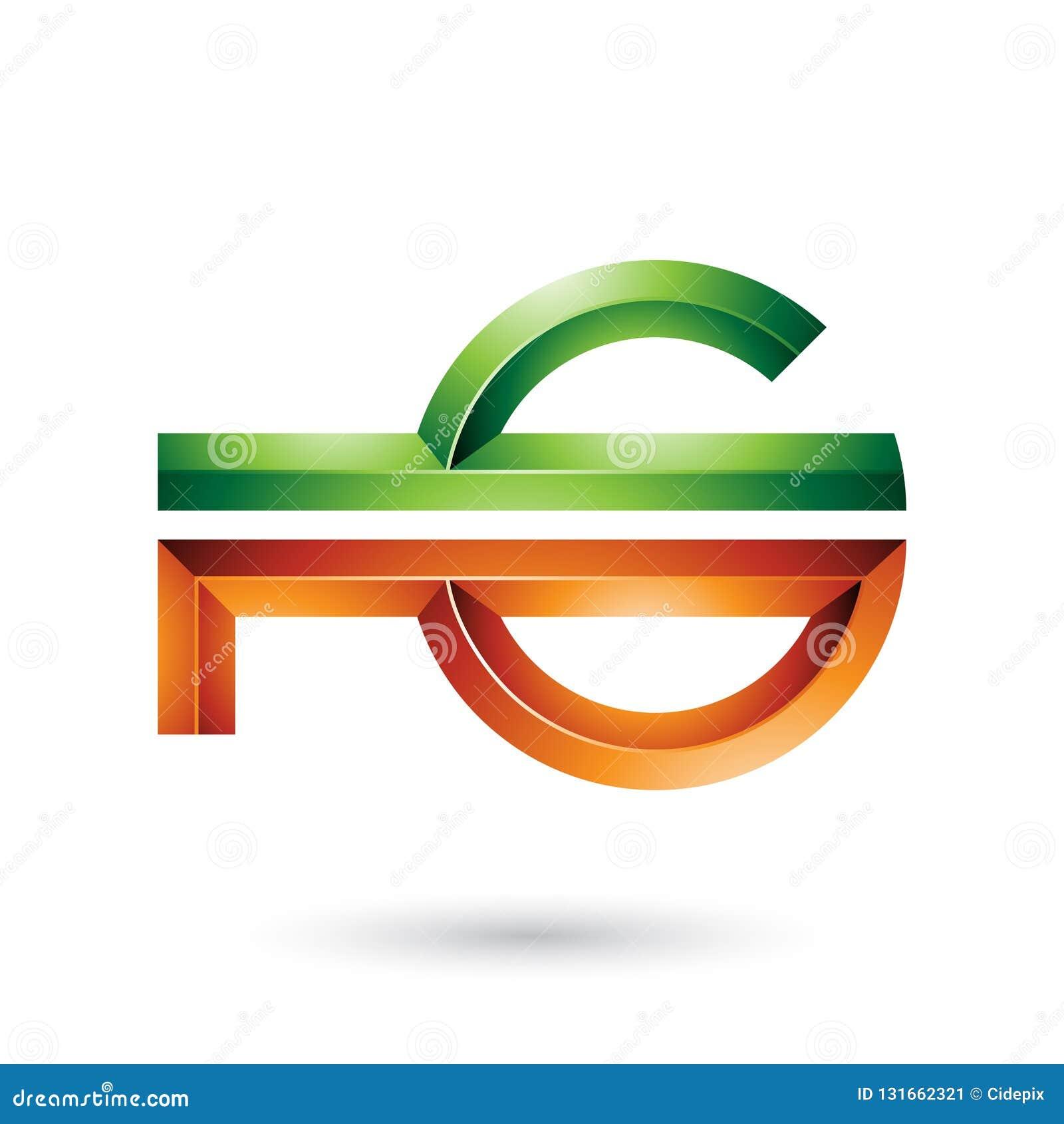 Orange und grünes abstraktes Schlüssel ähnliches Symbol lokalisiert auf einem weißen Hintergrund