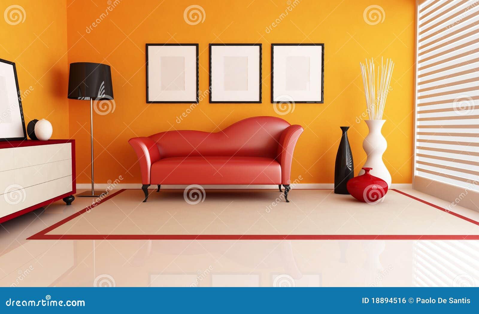 Orange Und Rotes Wohnzimmer Lizenzfreies Stockbild