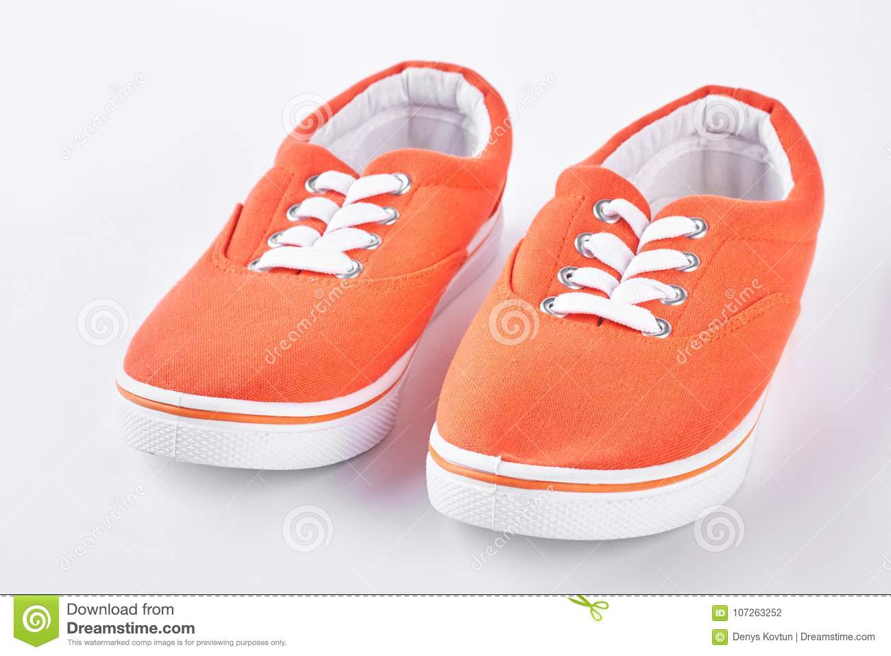 fdd1107417 Orange Vans On White Background. Stock Photo - Image of lifestyle ...