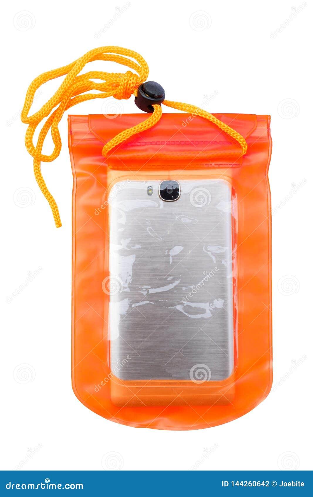 Orange vattent?tt mobiltelefonfall som isoleras p? vit bakgrund P?se f?r PVC-vinandel?s att skydda mobiltelefonen och viktiga obj