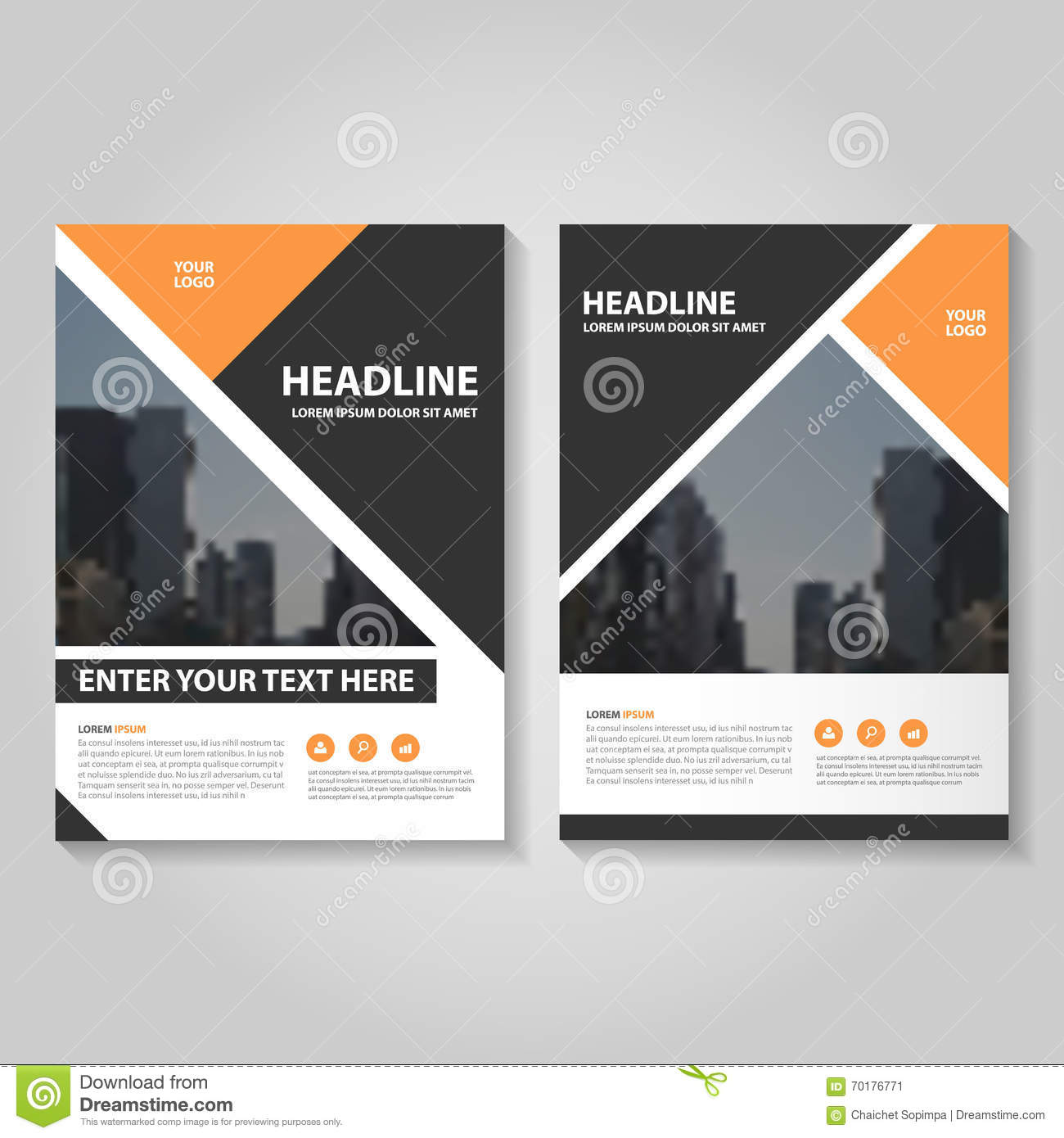 orange vector annual report leaflet brochure flyer template design