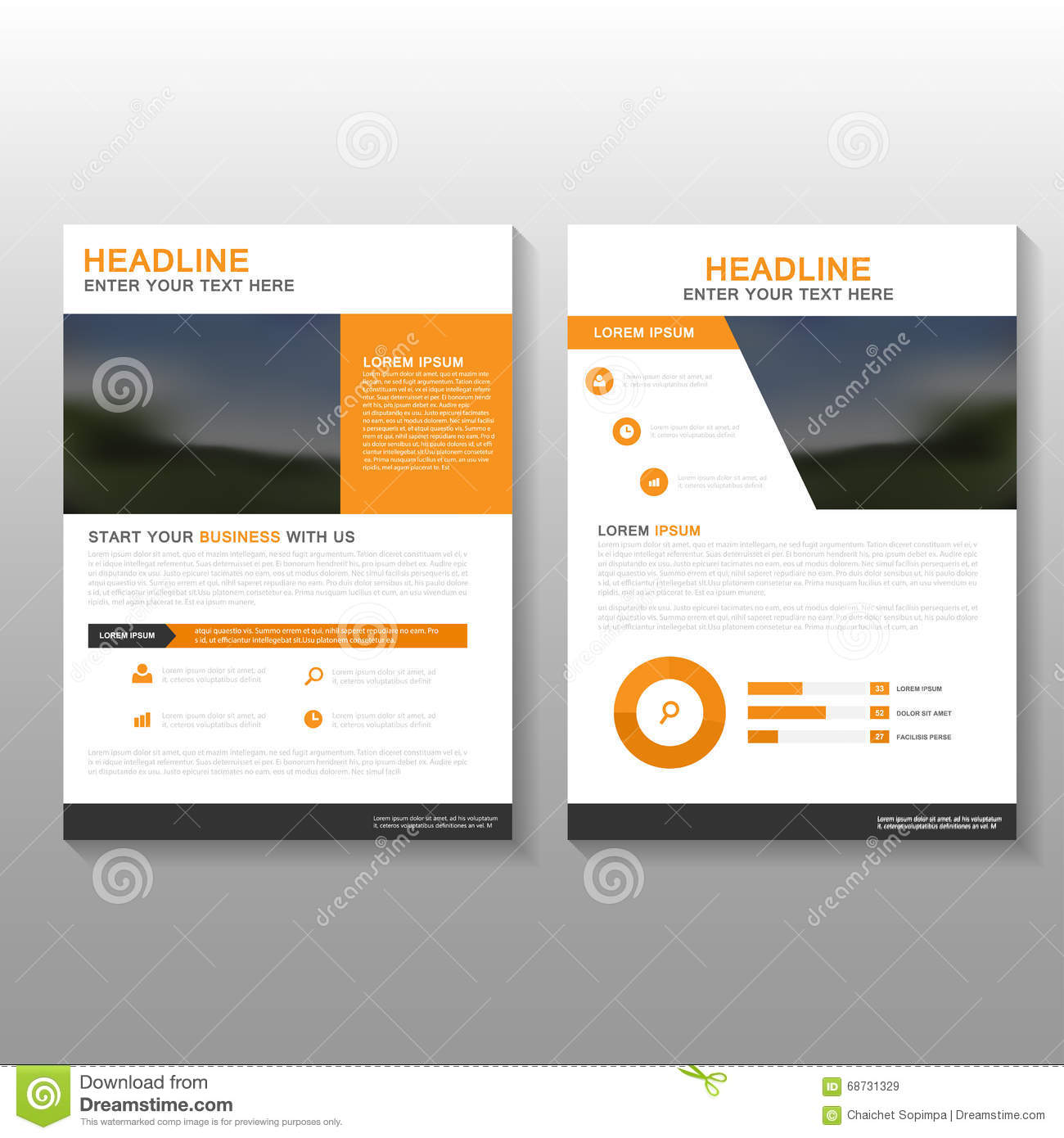 Business Book Cover Design Template : Orange vector leaflet brochure flyer business proposal