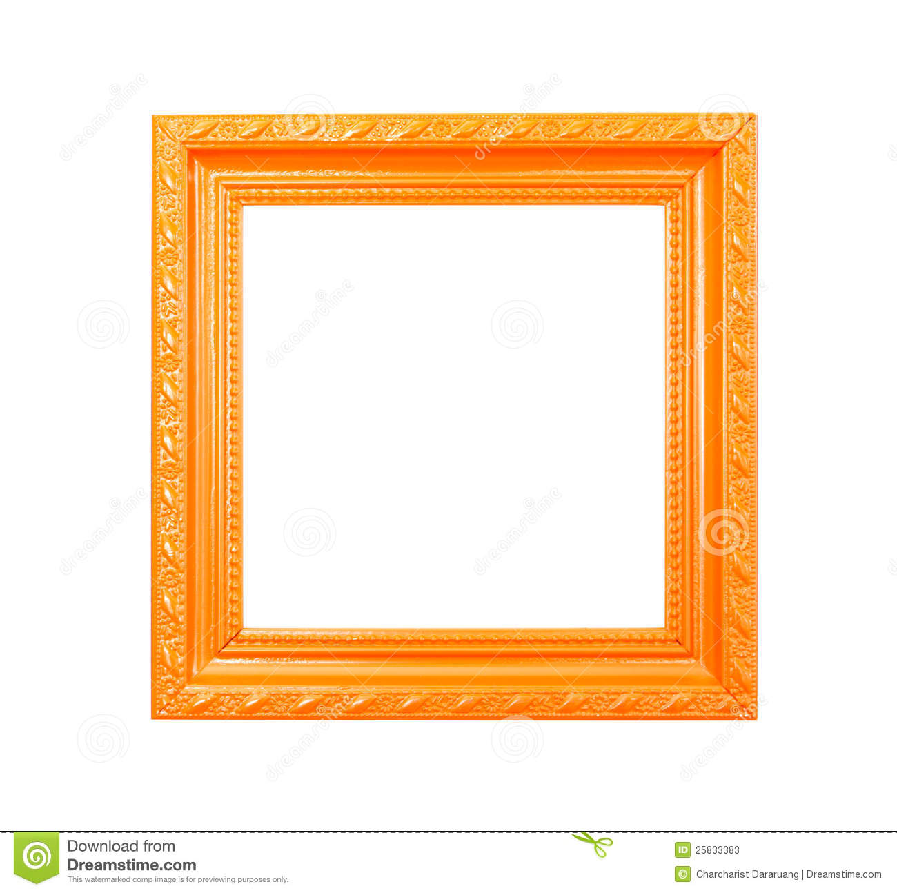 orange vintage picture frame on white background stock image image