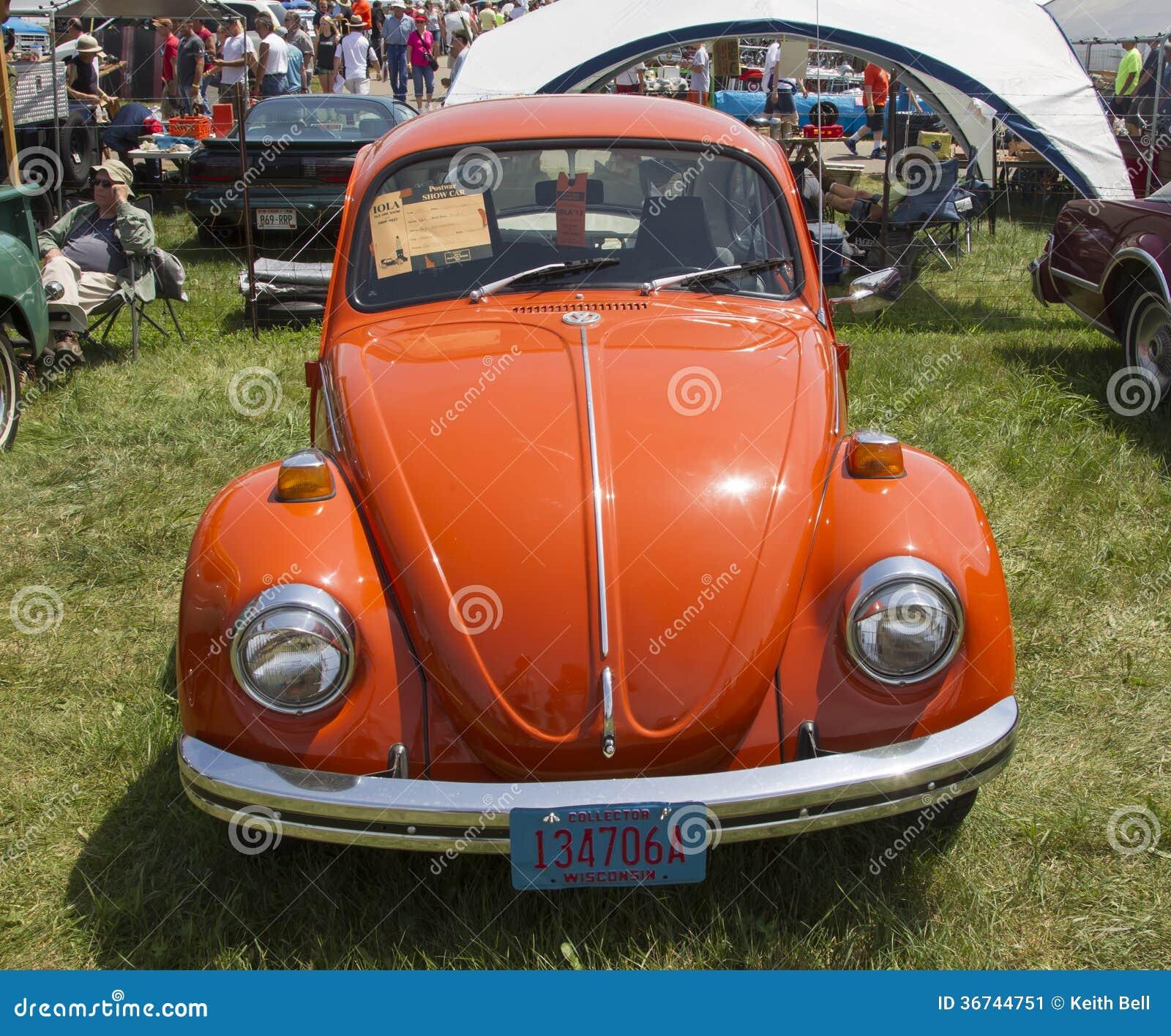 Orange Vw Beetle Front View Iola Wi July Car Iola St Annual Car Show July Iola Wisconsin