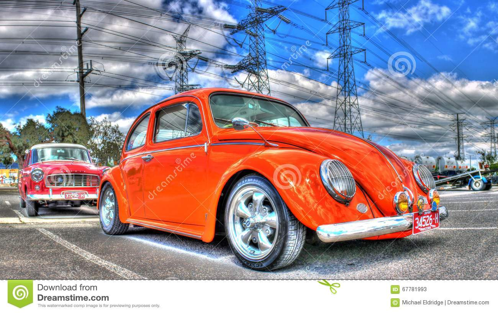 Orange VW Beetle editorial stock photo  Image of melbourne