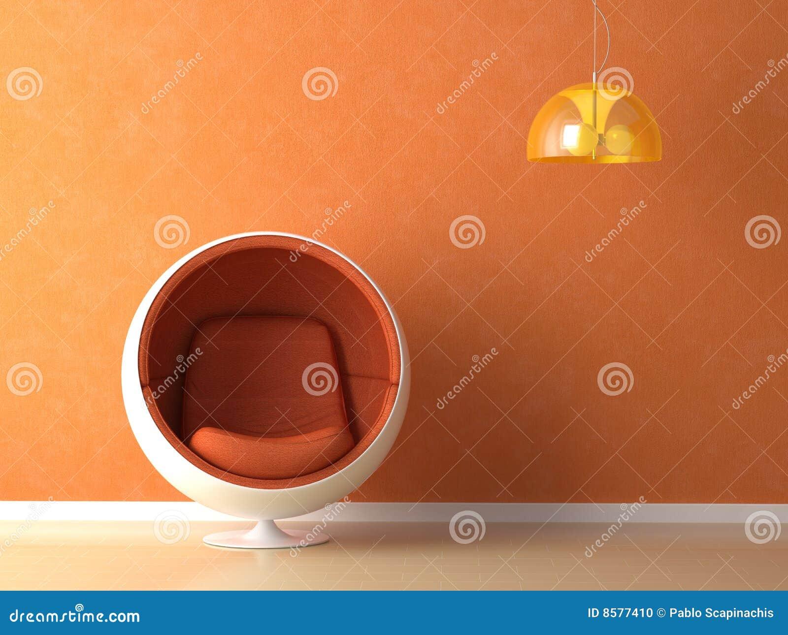 orange wall interior design stock photo - image: 8577410