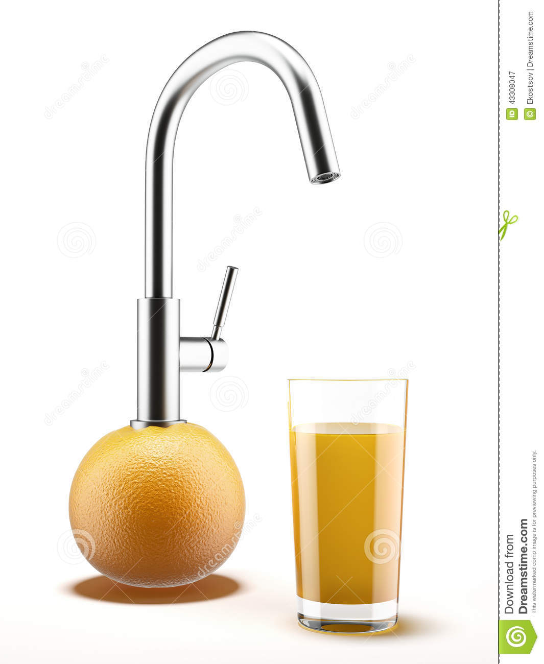 Orange with water tap