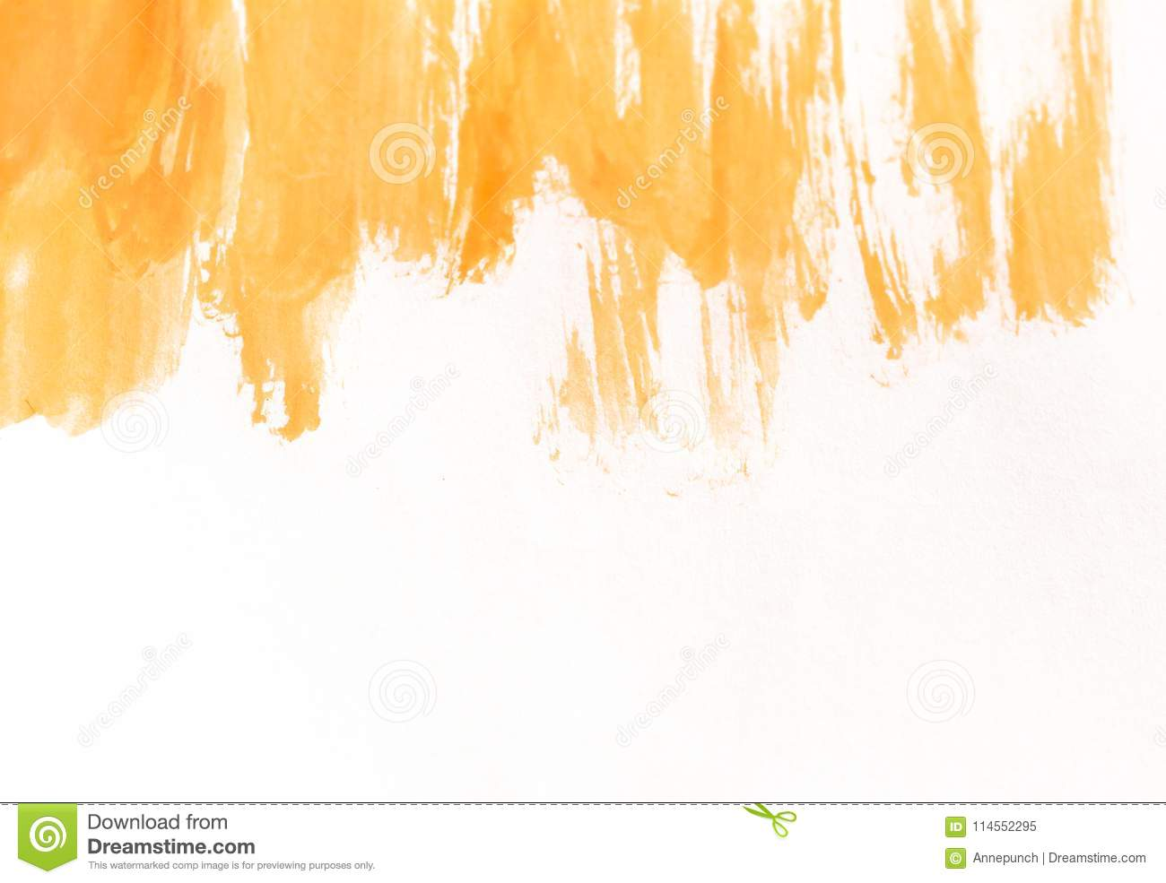 Orange watercolor brush strokes on white paper. Horizontal background with stains of watercolour paint.