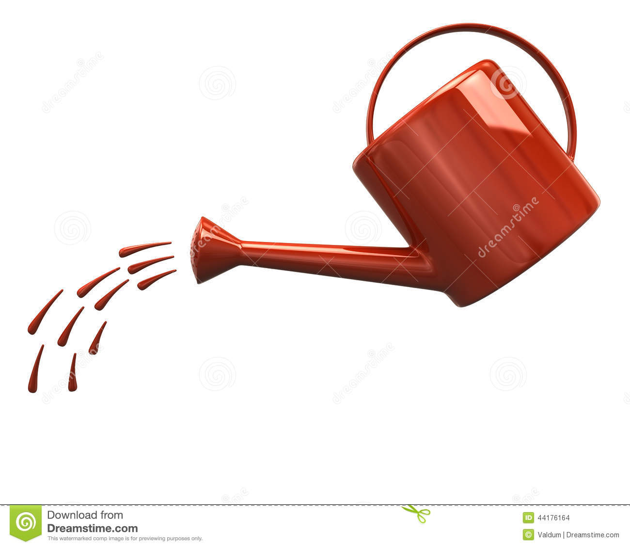 orange watering can pouring water stock illustration